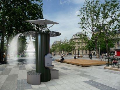 Lauréat du Défi n°3: Rafraîchir les usagers avec des fontaines double usage, boisson et brumisation.